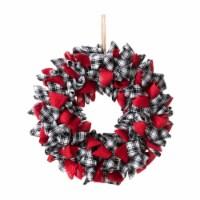 Glitzhome Plaid Fabric Wreath - Red/Black/White - 18.5 in