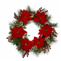 Glitzhome Poinsettia Pinecone Wreath with Lights - 24 in
