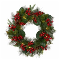Glitzhome Berry Magnolia Leaf Pinecone Wreath with Lights - 24 in