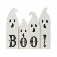 Glitzhome Halloween Boo! Wooden Ghost Table Decor - 12 in