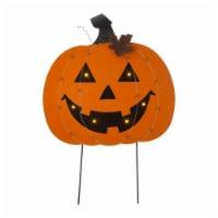 Glitzhome Halloween Wooden & Metal Pumpkin Yard Stake Decor - 1 ct