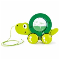 Hape Pull Along Tito the Turtle Wooden Push Toy for Ages 1 and Up, Lime Green - 1 Piece