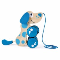 Hape Walk A Long Puppy Wooden Push Pull Kids Toy for Toddlers Ages 1 &  Up, Blue - 1 Piece