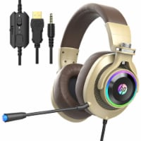 HP H500Gold Wired Gaming PC and Console Gaming Headset with LED RGB Lights, Mic - 1 Piece