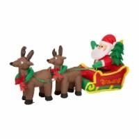 Glitzhome Lighted Inflatable Santa Sleigh Christmas Decor