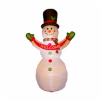 Glitzhome Lighted Inflatable Snowman Welcome Christmas Decor