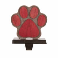 Glitzhome Handcrafted Paw Christmas Stocking Holder - Red