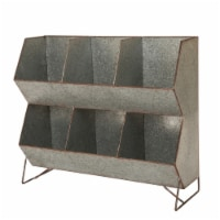 Glitzhome Farmhouse Storage Shelf - Galvanized Metal