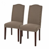 Glitzhome Fabric Dining Chair Set with Studded Decoration - Tan