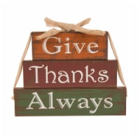 Glitzhome Wooden Give Thanks Always Three Block Set