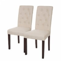 Glitzhome Fabric Dining Chair Set with Studded Decoration - Cream White