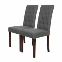 Glitzhome Tufted Back Fabric Dining Chairs - Dark Gray