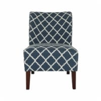 Glitzhome Lattice Upholstered Accent Chair with Sturdy Hardwood Frame - Indigo