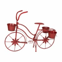Glitzhome Metal Red Bicycle Shape Planter