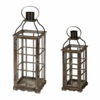 Glitzhome Oversized Natural Farmhouse Wood/Metal Lanterns - Grey