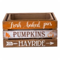 Glitzhome Wooden Pumpkin Crate - 2 Pack