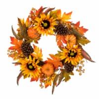 Glitzhome Sunflower Pumpkins & Pinecones Wreath