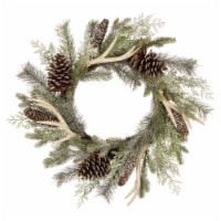 Glitzhome Flocked Pinecone & Antler Wreath - Green - 24 in