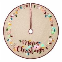 Glitzhome LED Embroidered Merry Christmas Tree Skirt - Light Brown