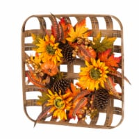 Glitzhome Bamboo Tobacco Basket with Sunflower Wreath
