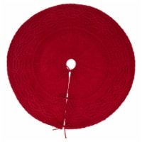 Glitzhome Knitted Polyester Farmhouses Christmas Tree Skirt - Red