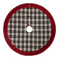 Glitzhome Plaid Fabric Christmas Tree Skirt with Trim - Black/White
