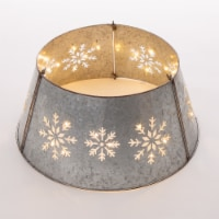 Glitzhome Snowflake Diecut Metal Tree Collar with Lights - Silver