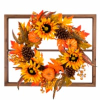 Glitzhome Wooden Window Frame with Sunflower Wreath