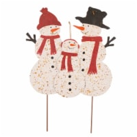 Glitzhome Rusty Metal Snowman Family Holiday Decor