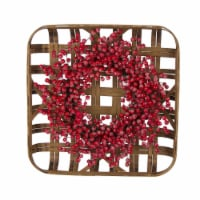 Glitzhome Bamboo Tobacco Basket with Red Berry Wreath