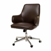 Glitzhome Adjustable Gas Lift Swivel Bonded Leather Office Chair - Coffee