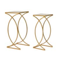 Glitzhome Square Metal with Glass Accent Table - 2 pk - Gold