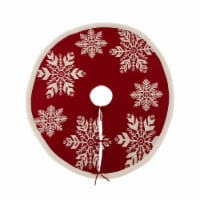 Glitzhome Knitted Acrylic Snowflake Christmas Tree Skirt