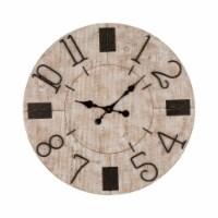 Glitzhome Oversized Farmhouse Whitewashed Wooden Wall Clock