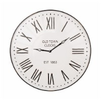 Glitzhome Oversized Farmhouse Metal Enamel Wall Clock - White
