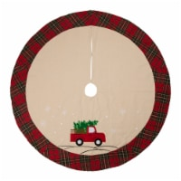 Glitzhome Fabric Christmas Tree Truck Skirt - Light Brown / Red