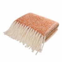 Glitzhome Woven Acrylic Striped Jacquard Tassel Throw Blanket