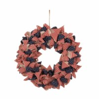 Glitzhome Fabric Patriotic Stripes & Stars Wreath