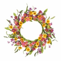 Glitzhome Multi-Colored Winter Artificial Chrysanthemum Wreath