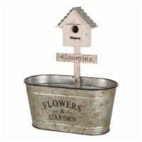 Glitzhome Galvanized Farmhouse Metal Planter with Bird House