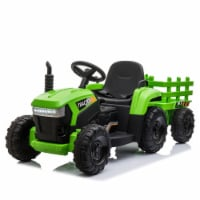 TOBBI 12V Kids Electric Battery-Powered Ride On Toy Tractor with Trailer, Green - 1 Piece