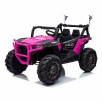 TOBBI 12V Kids Electric Battery Powered Ride On 3 Speed Toy SUV Car, Pink - 1 Piece