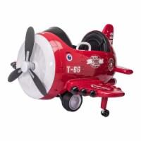 TOBBI 12V Airplane Style Electric Kids Ride On Car Toy w/ Joystick Control, Red - 1 Piece