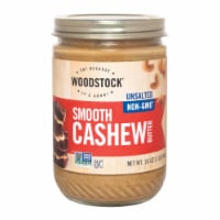 Woodstock Non-GMO Unsalted Smooth Cashew Butter - Case of 12 - 16 OZ
