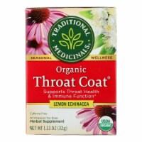 Traditional Medicinals Organic Throat Coat Lemon Echinacea Herbal Tea -Caffeine Free -16 Bags - 16 BAG