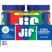 Jif Extra Crunchy Peanut Butter - Twin Pack, 40 Ounce -- 8 per case.