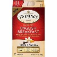 Twinings of London Black Tea English Breakfast Honey & Vanilla 1.41oz (Pack of 6)
