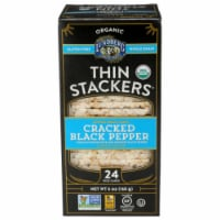 Lundberg Family Farms Organic Cracked Black Pepper Thin Stackers, 6oz (Pack of 6) - 6