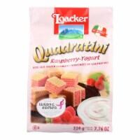 Loacker Quadratini Wafer Cookies, Raspberry-Yogurt, Bite Size Wafer Cookies -Case of 6-7.76oz - Case of 6 - 7.76 OZ each