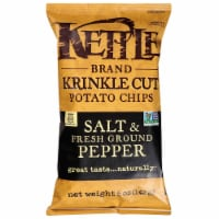 Kettle Foods Krinkle Cut Salt and Fresh Ground Pepper Potato Chips, 5 Ounce -- 8 per case. - 8-5 OUNCE